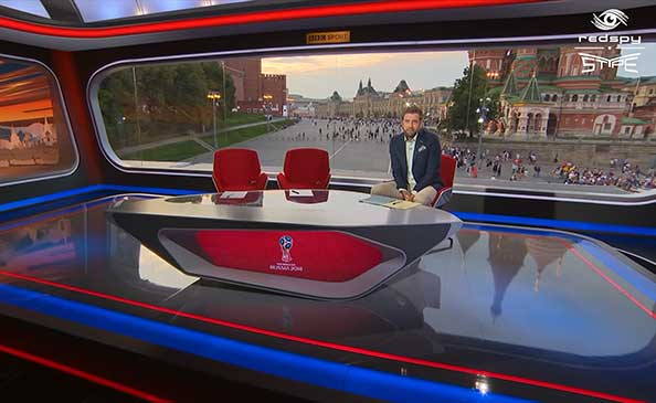 Image of BBC Sports Studio in Moscow fitted with RedSpy cameras